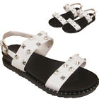 Ladies Diamante Studs Embedded Dual Strap Buckle Sandals Beach Party Slippers UK