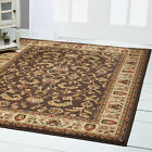 BROWN CREAM IVORY BORDERED TRADITIONAL AREA RUG Persien ORIENTAL FLORAL CARPET