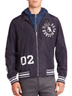 PRPS Men's Indigo Full Zip Graphic Print Jacket With Detachable Hood
