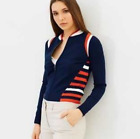 Karen Millen KA102 Sporty Stripe Knit Jumper Dress Jacket Cardigan Knit 8 - 14