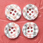 "(20 - 80 pcs) x 0.5"" Plastic 4-Hole Round Gingham Buttons For Baby Shower  SB259"
