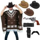 Fancy Dress Gun Hat Western Wild West Cowboy Poncho for Clint Eastwood Lot
