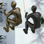 NEW Man Climbing Rope Iron Bronze Metal Wall Mounted Art Sculpture Home Decor