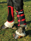 SALE Harlequin Neoprene Horse or Pony Brushing Boots Suede Leather Strike Pad