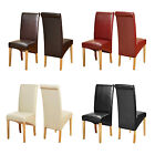 Top Quality Leather Dining Chairs Roll Top Scroll Back Oak Leg Seat Furniture