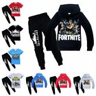 UK Kids Fortnite Hoodies Casual Cartoon Tops Sweatshirt +trousers Pants T shirt