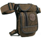 Men Canvas/Nylon Drop Leg Bag Tactical Motorcycle Thigh Waist Fanny Pack Pouch
