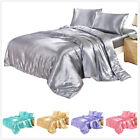 Luxury Comforter Cover Duvet Cover Only Solid Silky Soft Silver Bedding King