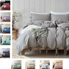 Tie Decor Bed Linen Microfiber Bedclothes Duvet Cover Gray Bedding Set US King