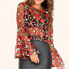Lot Women Trumpet Long Sleeve Blouse Pullover Mesh Floral Top Cover up Showy