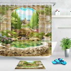 72x72'' Old Italian Arch View Of Park Bathroom Shower Curtain Waterproof Fabric