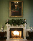 Fireplace in White House Green Room under Benjamin Franklin portrait Photo Print