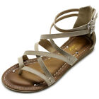 ollio Womens Shoes Gladiator Strap Flats Zori Sandals
