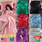 4PCS Solid Silk Bedspreads Bed Linen Cotton Duvet Cover Sets Bedsheet Pillowcase image
