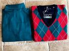 New NWT Mens Pringle Argyle V-neck S-XL Navy,Red,Green Sweater & Turtleneck