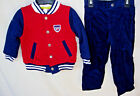 LITTLE ME Quilted Varsity Jacket w/Navy Cord Pants Outfit BOY SIZES NWT