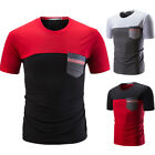 Fashion Men Short Sleeve American Flag Slim Independence Day Blouse T-Shirt Top