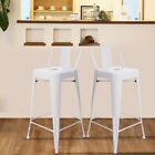 Set of 2 Metal Bar Stools Cafe Chairs Low Back Industrial Chair with Back 26Inch