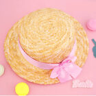 Women Lolita Strawhat Straw Hat Sun Cap Lace Bowknot Boater Handmade Summer Brim