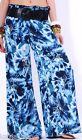 Tie-Dye Or Floral Silky/Satiny Smocked Waist/Wide Leg Long Pants/Palazzo w/Belt