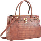 Dasein Faux Crocodile Leather Padlock Shoulder Bags Satchel NEW