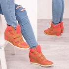 Ladies Womens High Top Trainers Wedge Casual Fashion Sneakers Coral Ankle Boots