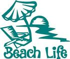 Beach Life With Chair, Umbrella, And Sun Vinyl Decal/sticker