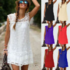 Boho Womens Plus Size Summer Lace Beach Wear Sundress Ladies Cover UP Mini Dress