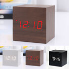 Cube Wood Effect Alarm Clock with Red LED Voice Control Temperature Display