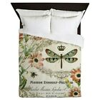 CafePress - Modern Vintage French Dragonfly - Queen Duvet image
