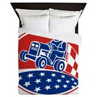 CafePress - Ride On Lawn Mower Racing Retro - Queen Duvet