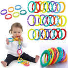 Внешний вид - Plastic Infant Stroller Gym Play Mat Toys Rainbow Teether Ring Links Baby Kids
