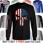 The Punisher American Flag T-Shirt Military Distressed Skull US Army USA Pride image