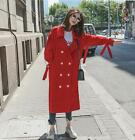 2018 Autumn Womens Lapel Double-breasted Long Windbreakers Casual Loose Coats