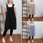 Women Summer Oversized Casual Sleeveless Solid Pinafore Shift Long Overall Dress