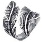 Mens Womens Stainless Steel Ring, Vintage Feather, Black