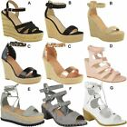 Womens Ladies Wedge High Heels Sandals Party Evening Wedding Summer Shoes Size
