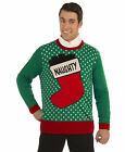 Naughty Stocking Green Knitted Ugly Sweater Adult Christmas Tacky Gag Gift  Sock
