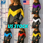 US Womens Contrast color Long Sleeve Autumn Crew-neck Casual