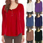 Elegant Women V-Neck Long Sleeve Pleated Button Solid Loose T-Shirt Tops S-5XL