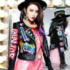 Casual Graffiti Women Multicolor Punk Leather Jacket Street Fashion Motorcycle