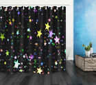 Twinkling Star In Black Backdrop Decor Shower Curtain Waterproof Fabric & Hooks