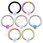 16G Synthetic Opal Ball 316L Surgical Steel IP Captive Bead Ring Body Piercing