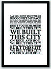 We Built This City - Starship Song Lyrics Typography Print Poster Artwork Home
