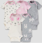 Внешний вид - Baby Girl Lot of 5 Onesies Bunnies Hearts NWT Gerber Pink Gray NB 3 6 9 Months