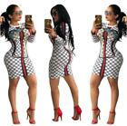 Woman Long Sleeve dress Green Red Stripes Printed O Neck Bod