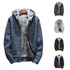 Winter Mens Thickening Coats Casual Hooded Hoodies Padded Knitted Cardigan Coats