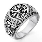 MENDINO Men's Stainless Steel Ring Tribal Nordic Viking Odin Vegvisir Silver photo