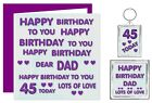Dear Dad Happy Birthday Gift Set - Card,Keyring,Magnet - Ages 30 - 100 - Purple
