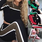 2PCs Womens Crew Neck Long Sleeve Full Tracksuit Stitching Sport Tops+Pants Suit